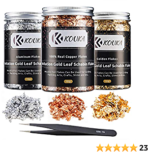 Gold Leaf Foil Set Gilding Flakes - 45 Gram Gilding Foil with Tweezers for Resin Nail Art Painting Crafts Jewelry Making, 3 Bottles 3 Colors
