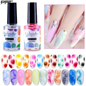 Details About Nail Art Flower Blooming Gel Marble Watercolor Polish Ink Nail Painting Gel 2PCS
