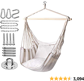 Y- STOP Hammock Chair Hanging Rope Swing-Max 320 Lbs-2 Seat Cushions Included-Hanging Chair with Pocket-Quality Cotton Weave for Superior Comfort,Durability (Beige)