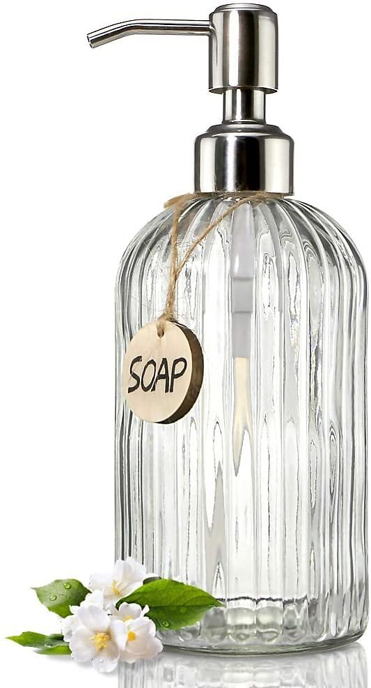 Clear Glass Soap Dispenser with Rust Proof Stainless Steel Pump