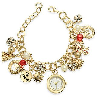 Charter Club Gold-Tone Charm Bracelet Watch 25mm, Created for Macy's & Reviews - Watches - Jewelry & Watches