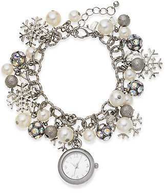 Charter Club Women's Snowflake Silver-Tone Charm Bracelet Watch 26mm, Created for Macy's & Reviews - Watches - Jewelry & Watches
