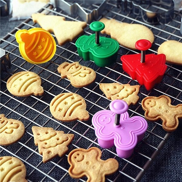 US $1.9  4pcs Stamp Biscuit Mold 3D Cookie Plunger Cutter Pastry Decorating DIY Food Fondant Baking Mould Tool Christmas Tree Snowman tool and Steel Products mold Cupmold for - AliExpress