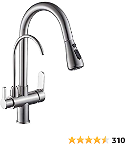 Modern Kitchen Faucet Pull Down Kitchen Sink Faucet Dual Handle 3 in 1 High Arc Water Filter Purifier Faucets Brushed Nickel 0195SN
