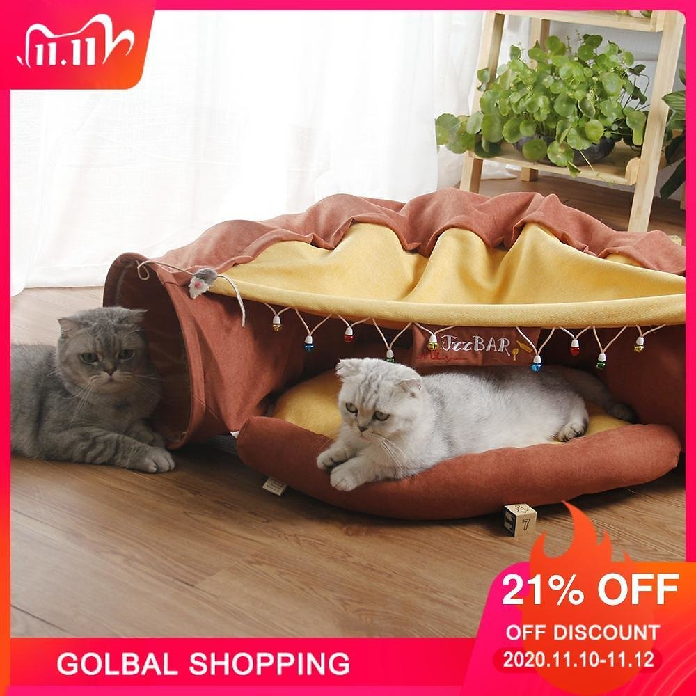 US $46.68 21% OFF|Pet Cats Tunnel Interactive Play Toy Mobile Collapsible Ferrets Rabbit Bed Tunnels Indoor Toys Kitten Exercising Products|Cat Toys| - AliExpress