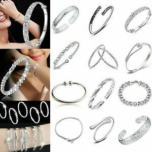 Women Jewelry Chain Bracelet 925 Solid Silver Crystal Cuff Bangle Gift
