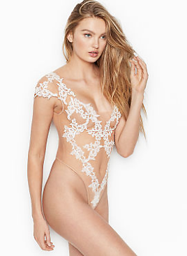 Floral Embroidered Sheer Bodysuit - Very Sexy - Vs