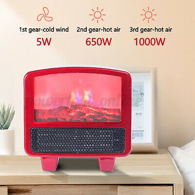 1000W Portable Mini Electric Heater Fan Fireplace Flame Winter Home Air
