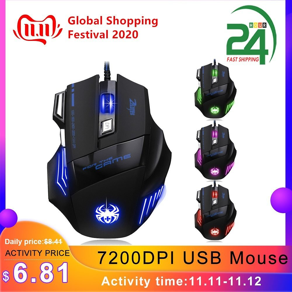 US $7.25 34% OFF|ZELOTES T 80 Gaming Mouse 7200 DPI Backlight Multi Color LED Optical 7 Button Mouse Gamer USB Wired Gaming Mouse for Pro Gamer|Mice| - AliExpress