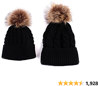 2PCS Parent-Child Hat Warmer, Mother & Baby Daughter/Son Winter Warm Knit Hat Family Crochet Beanie Ski Cap