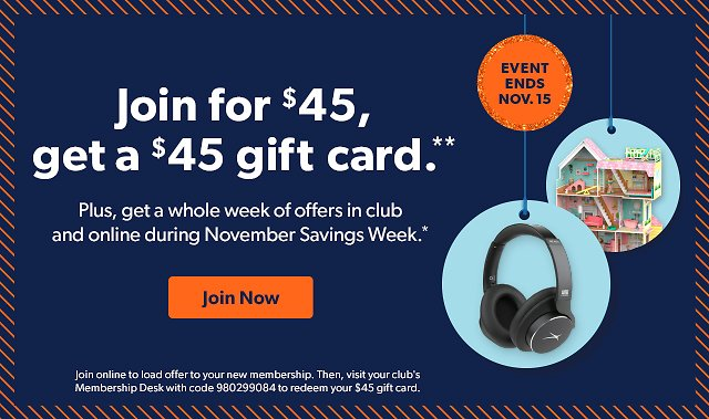 Join For$45, Get $45 Gift Card - Sam's Club Membership
