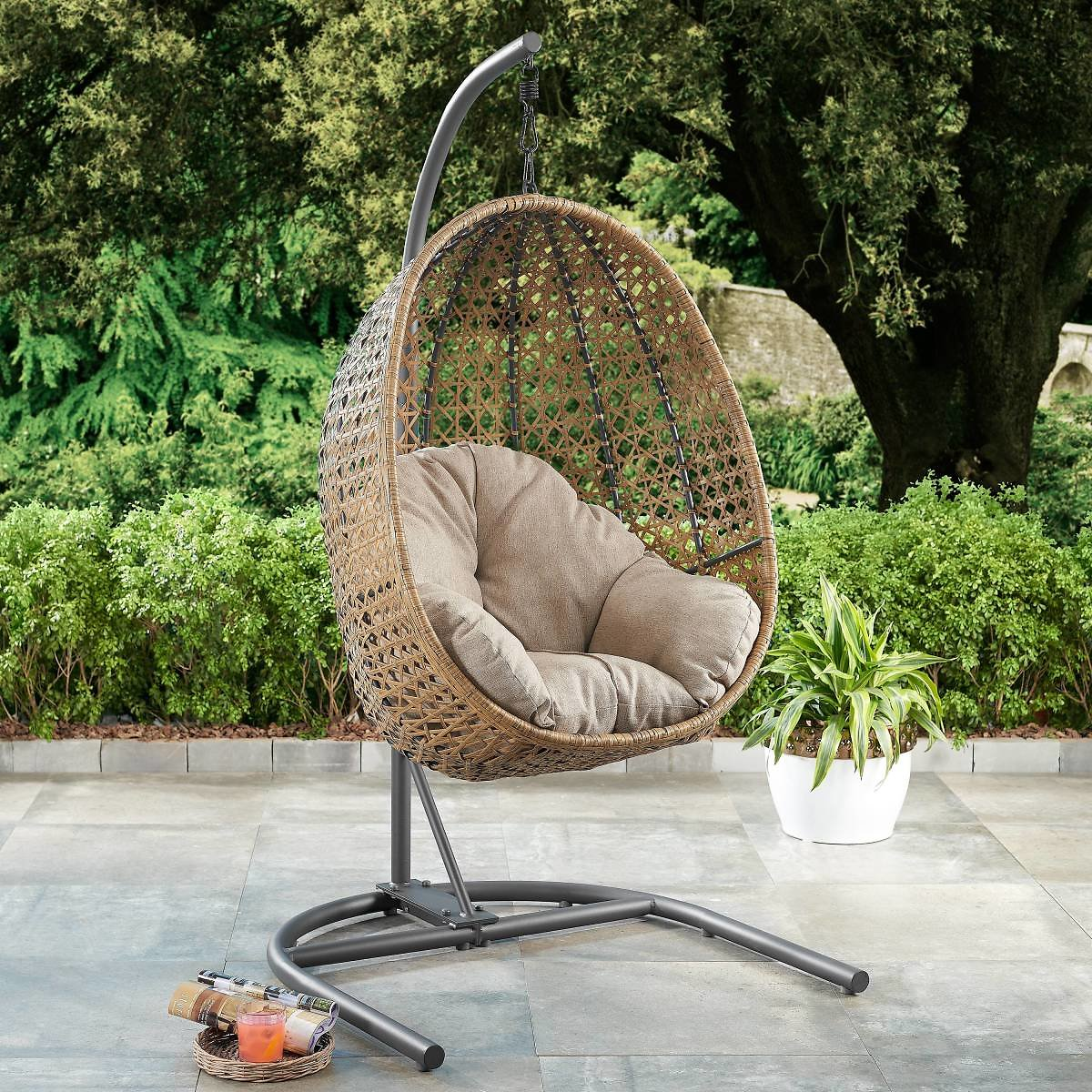 Better Homes & Gardens Lantis Patio Wicker Hanging Chair with Stand and Blue Cushion