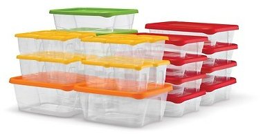 Plas Glas 60-Piece Stackable BPA Free Plastic Food Storage Containers
