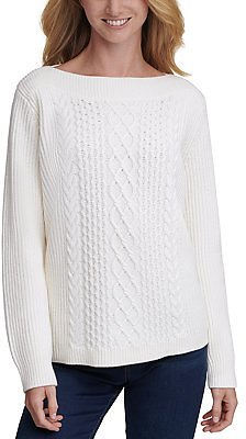 Tommy Hilfiger Cable-Knit Boat-Neck Sweater & Reviews - Sweaters - Women