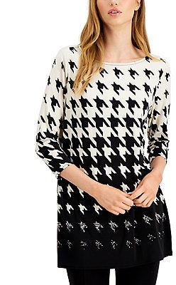 Ombre Houndstooth-Print Tunic Top, Created for Macy's