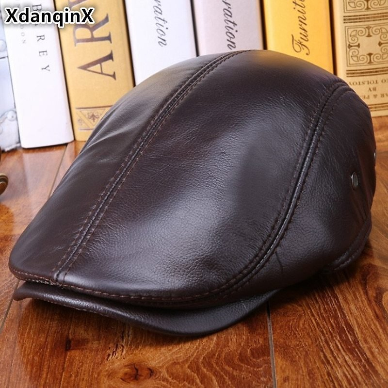 US $20.8 35% OFF|XdanqinX Men's Winter Warm Berets Genuine Leather Cap Cowhide Leather Thick Earmuffs Hats High Quality Brands Male Bone Dad Cap|Men's Berets| - AliExpress