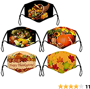 5PC Mix Thanksgiving Anti-Dust Cotton Face_Mask for Adults Adjustable Washable Reusable Breathable Turkey Maple Leaf Printed for Womens Mens Bandanas Scarf Protection (A)