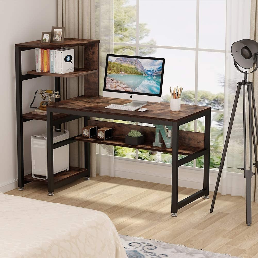 Tribesigns Rustic Computer Desk with 4-Tier Storage Shelves, 58 Inch Large Industrial Office Desk Study Writing Table Workstatio