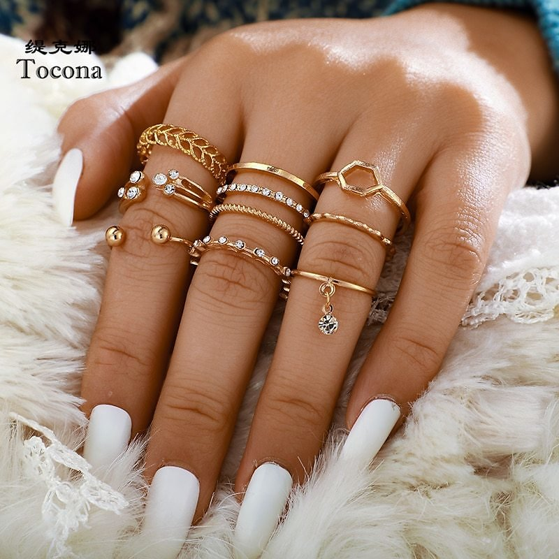 US $1.15 36% OFF|Tocona 8pcs/sets Bohemian Geometric Rings Sets Clear Crystal Stone Gold Chain Opening Rings for Women Jewelry Accessories 9012|Rings| - AliExpress