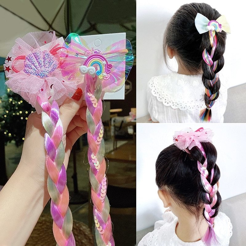 US $2.9 |NEW Colorful Wig Pigtail Elastic Hair Band for Girls Sequin Glitter Unicorn Scrunchies Ponytail Hair Ropes Kids Headwear|Girl's Hair Accessories| - AliExpress