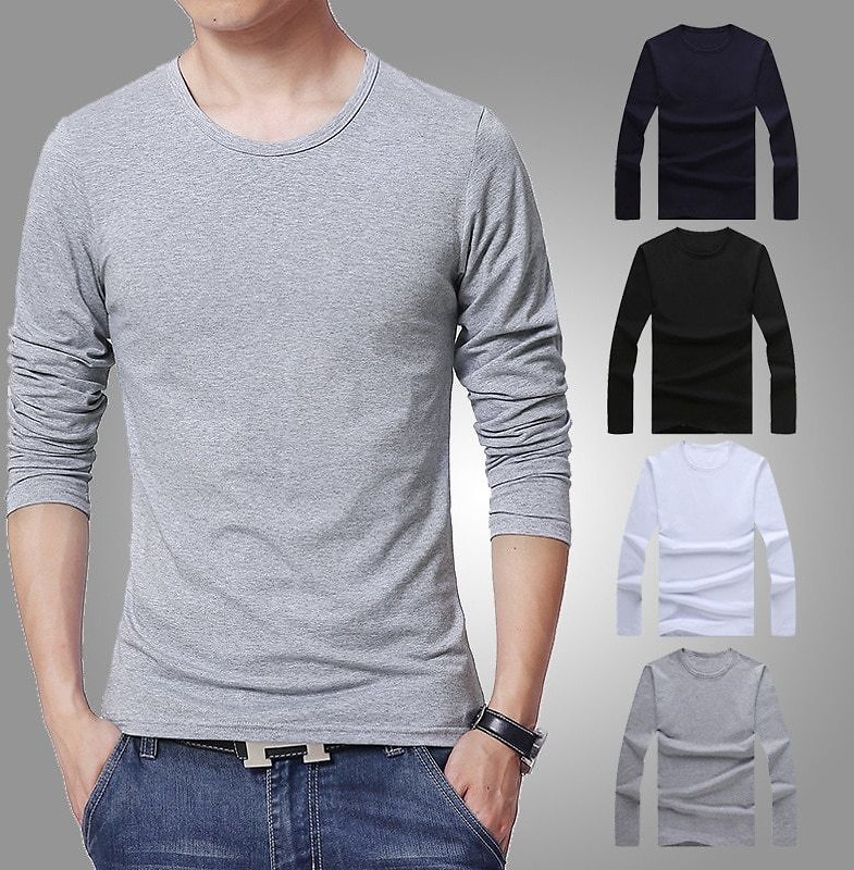 US $4.13 54% OFF|2020 MRMT Men's T Shirt 3 Basic Colors Long Sleeve Slim T Shirt Young Men Pure Color Tee Shirt 3XL Size O Neck Free Shipping|T-Shirts| - AliExpress