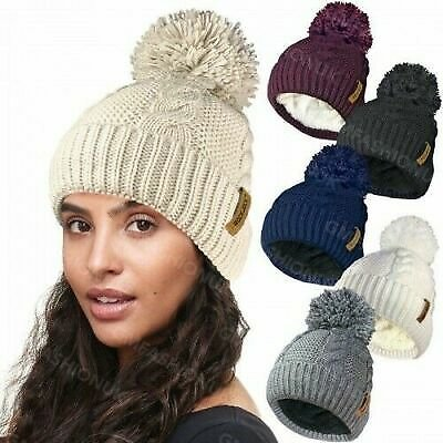 Womens Ladies Warm Chunky Cable Knit Pom Pom Hat Thermal Insulating Fleece Liner