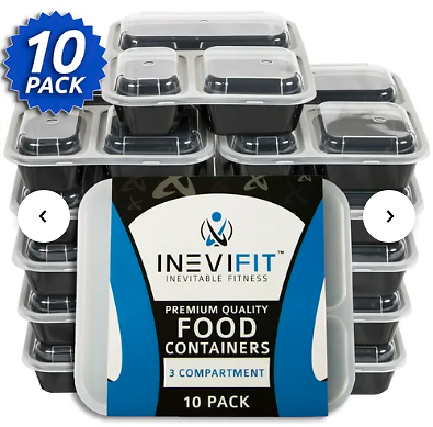 Meal Prep 3 Compartment 10 Container Food Storage Set