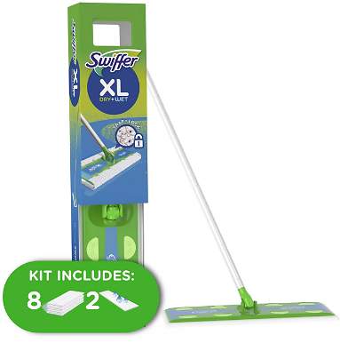 Swiffer Sweeper Dry + Wet XL Sweeping Kit (1 Sweeper, 8 Dry Cloths, 2 Wet Cloths)
