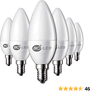 Bioled 6 Pack E12 5W (60Watt Equivalent) Daylight 5000K LED Light Bulbs, Ceiling Fan Light Bulbs, Small Base Lightbulbs, Chandelier Light Bulbs, Candelabra LED Bulbs, Type B11 Bulb, Candle Bulb
