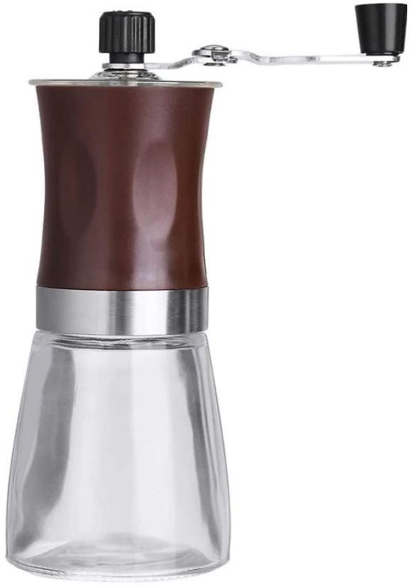 Zolay Manual Coffee Grinder with Ceramic Burrs, Glass Jar, and Stainless Steel Handle (Brown-Small Size)