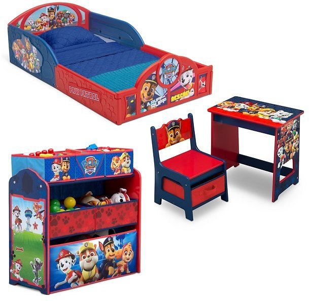 Nick Jr. PAW Patrol 4-Piece Room-in-a-Box Bedroom Set By Delta Children - Includes Sleep & Play Toddler Bed, 6 Bin Design & Stor