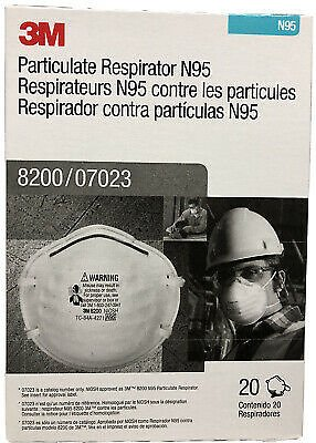 3M 8200 N95 Protective Disposable Face Mask Cover NIOSH Respirator 20 PACK NEW 51131070233