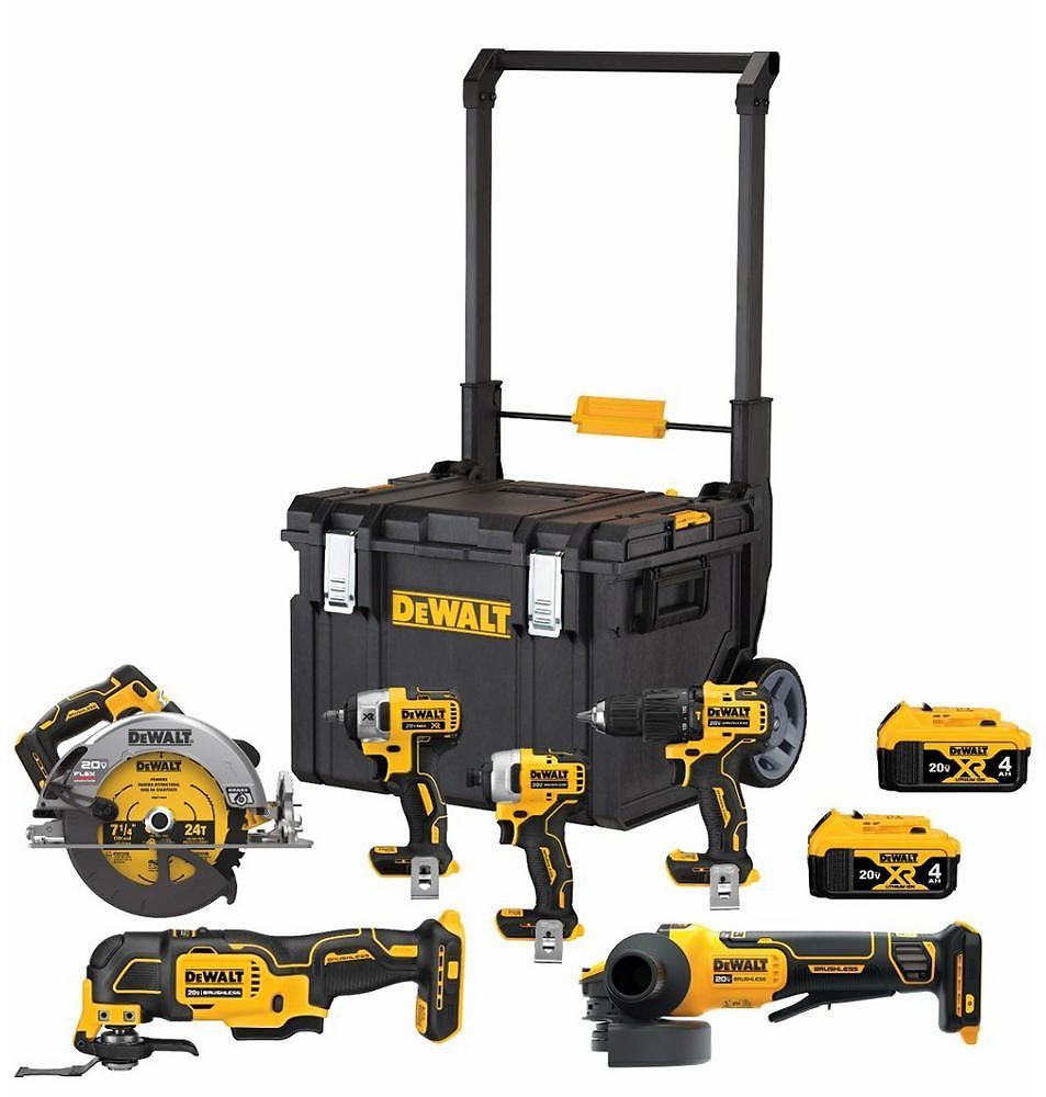 DEWALT 20-Volt MAX Lithium-Ion Cordless Brushless Combo Kit (6-Tool) with ToughSystem + F/S
