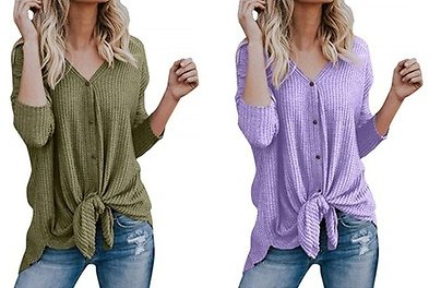 (80% Off) Women Shirts V Neck Long Sleeve Button Pullovers Knit Sweater TopDe