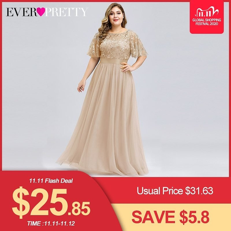 US $26.88 49% OFF|Plus Size Sequined Evening Dresses Long Ever Pretty A Line O Neck Tulle Elegant Formal Evening Gowns Vestido Noche Elegante 2020|Evening Dresses| - AliExpress