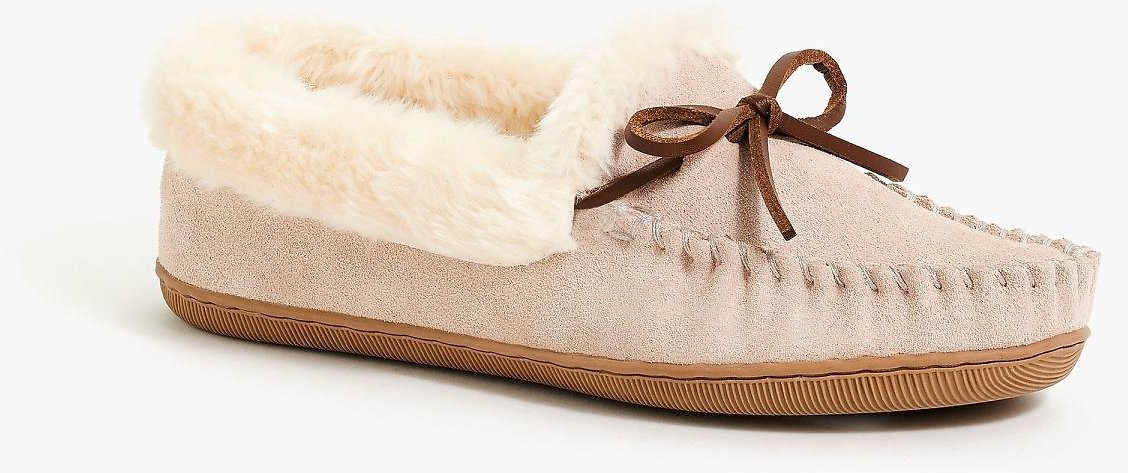 Suede Faux-shearling Moccasin Slippers