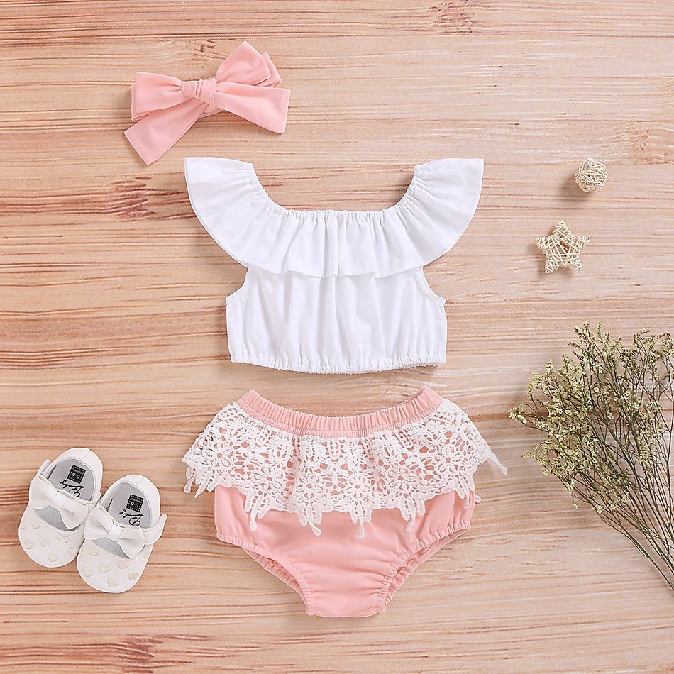 3-piece Baby Solid Off Shoulder Top and Lace Decor Shorts with Headband Set