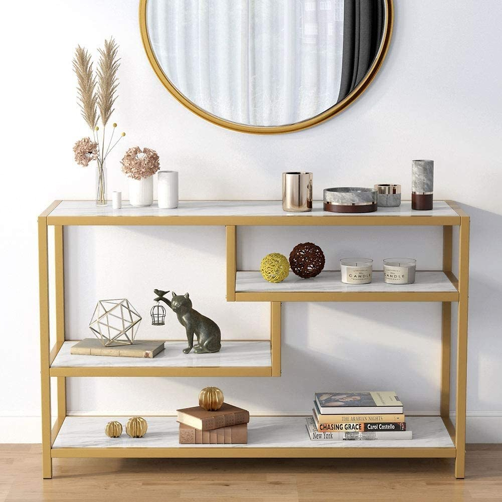 Tribesigns 3-Tier Gold Console Table, Modern Entryway Sofa Table Display Shelf with Faux Marble Veneer for Living Room Entryway