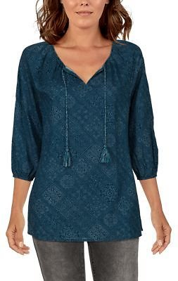 Natural Reflections Three-Quarter-Sleeve Printed Peasant Top for Ladies | Bass Pro Shops