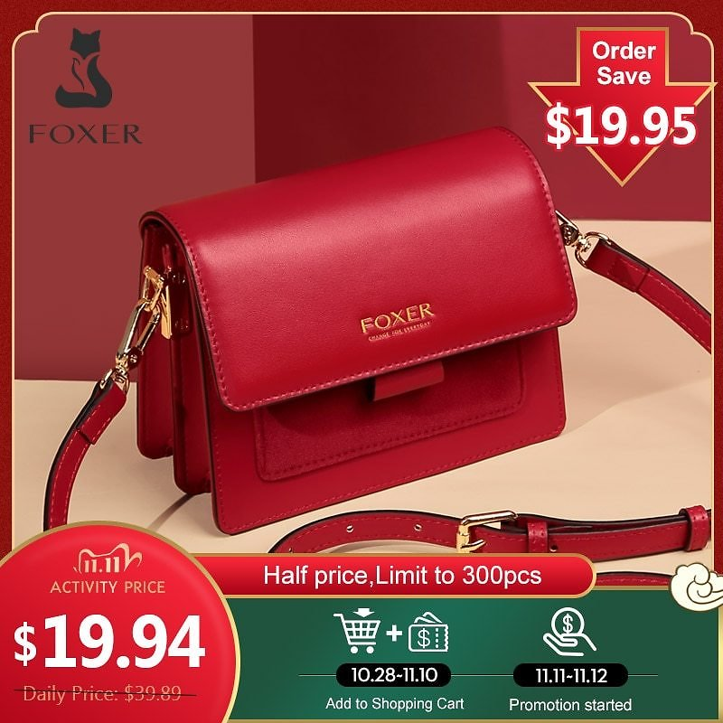 US $35.1 60% OFF|FOXER Women Bags Split Cow Leather Crossbody Shoulder Bags 2020 Fashion Small Lady Flap Purse Female Bag Valentine Gift for Girl|Top-Handle Bags| - AliExpress