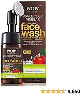 WOW Apple Cider Vinegar Exfoliating Face Wash W/Brush - Soft, Silicones Bristles - Foaming Cleanser For All Skin Type - Hydrate For Smooth Skin, Helps Remove Blackheads & Reduce Acne Breakout - 100ml