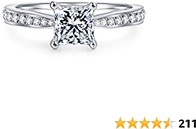 HAFEEZ CENTER 4-Prong Set 1.0 CT Princess Brilliant Cut Simulated Diamond CZ Solitaire Engagement Wedding Ring Rhodium Plated Sterling Silver, 2.16 CTW