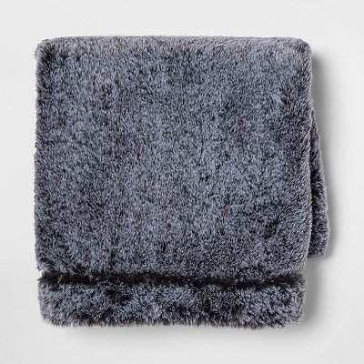 Standard Tipped Faux Fur Pillow Case Gray - Threshold™