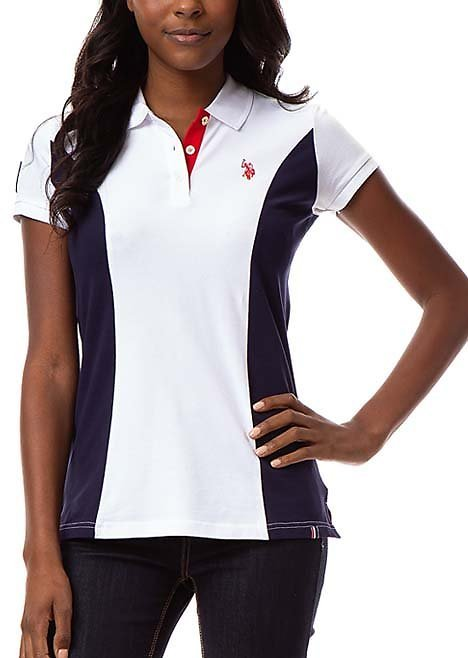 Love This Product Optic White & Navy Color Block 'USA' Flag-Accent Side-Panel Polo - Women