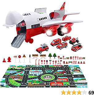 PETUOL Car Toys Set with Transport Cargo Airplane, Educational Vehicles Fire Fighting Car Set for Kids Toddlers Child Gift for 3 4 5 6 Years Old, Large Play Mat and 6 Trucks Large Plane 11 Road Signs