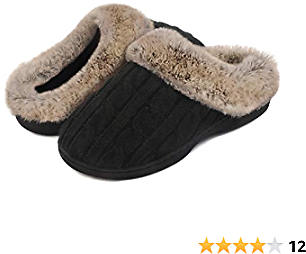 Women's Soft Cable Knit Slippers Soft Plush Faux Fur Collar Memory Foam Fuzzy House Shoes Anti-Skid Indoor/Outdoor Rubber Sole