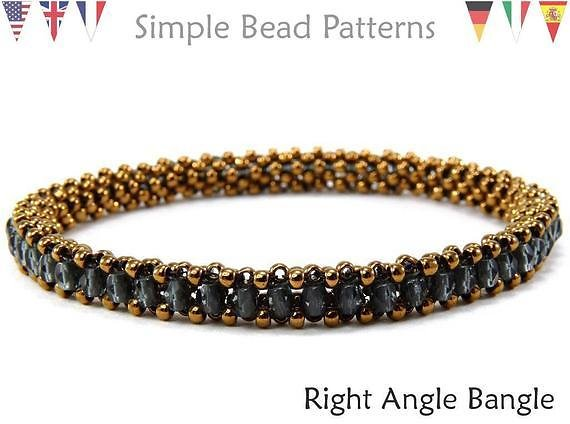 Beading Patterns - Jewelry Making Tutorials - Bangle Bracelets - Right Angle Weave RAW - Simple Bead Patterns - Right Angle Bangle #146
