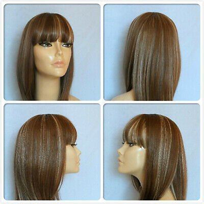 HIGH HEAT RESISTANT HAIR SMOOTH FRINGE TOP PARTING LADY WOMENS DAILY FULL WIG UK