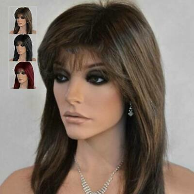 Women Natural Medium Length Wig Cosplay Costume Ladies Full Wig Party