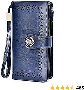 Charmore Womens Wallet RFID Blocking Leather Clutch Multi Card Case Ladies Purse Wristlets